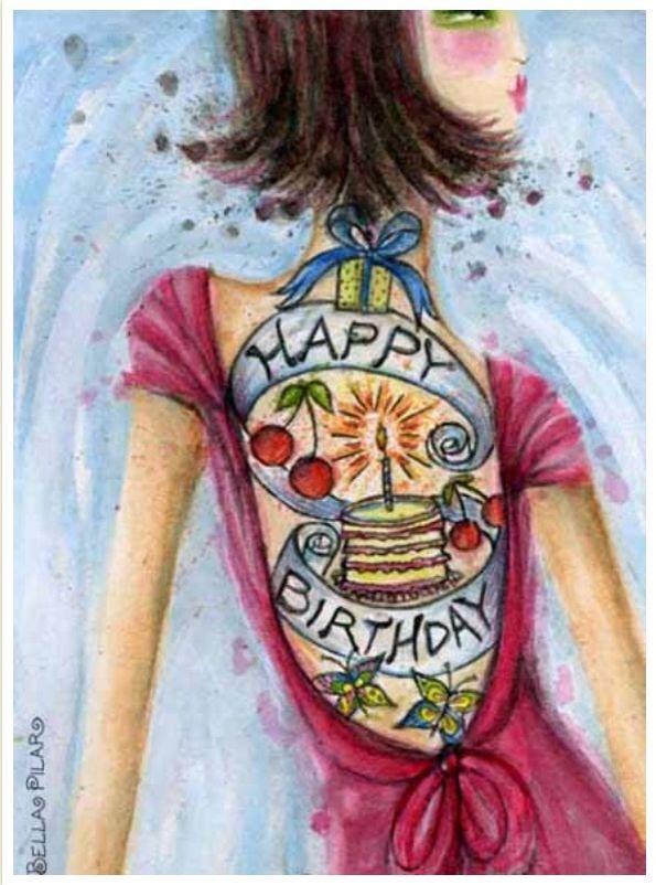 Birthday tattoo illustration