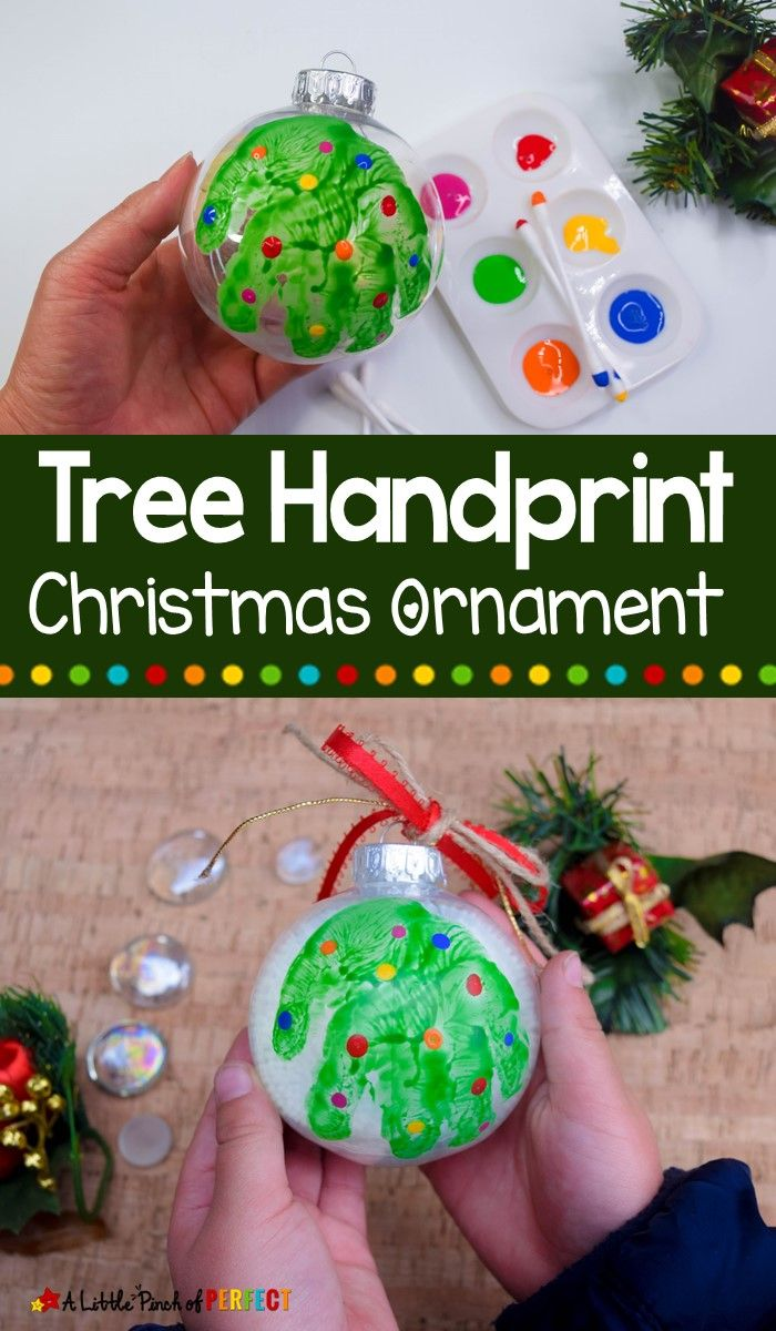 How To Make A Handprint Tree Christmas Ornament Handprint Christmas Christmas Ornaments Kids Christmas Ornaments