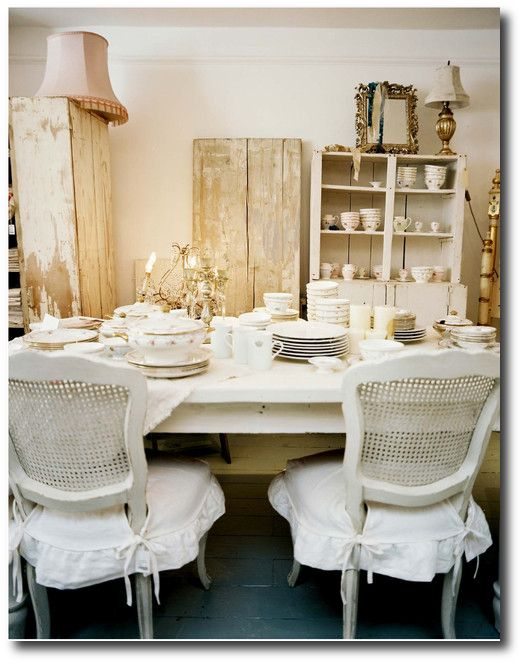 Shabby Chic Dining Room Photo   White cane back chairs surrounding a white  dining table covered with china102 best Fine Dining Rooms images on Pinterest   Home  Shabby chic  . Shabby Chic White Dining Room Chairs. Home Design Ideas