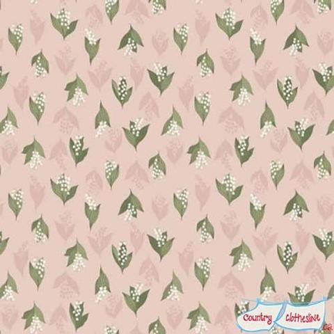 Flo's Wildflowers Lily of the Valley on blush fabric by Lewis & Irene