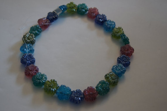 Pressed glass beads multicolor transparent large by Henrysbeads, $7.75