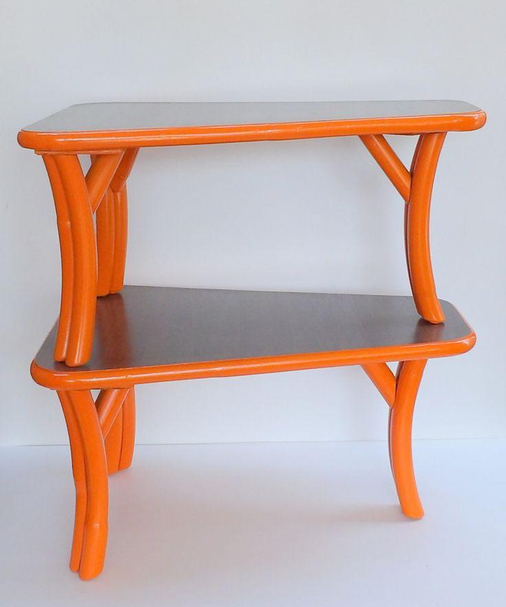 End Tables Mid Century Modern Orange Bamboo Formica Pair Modern Furniture  Orange Vintage Tables Bedroom Nightstands Bedside Table Brutalist