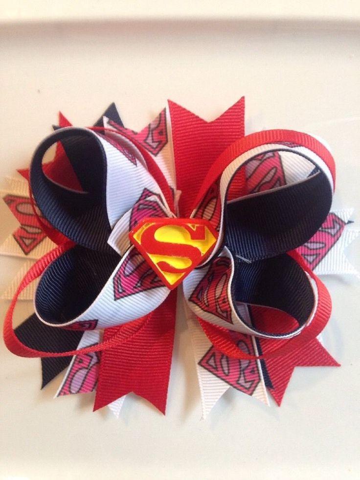 """5"""" Handmade Boutique SuperMan Hair Bow , Super Hero Hair Bow #Handmade"""
