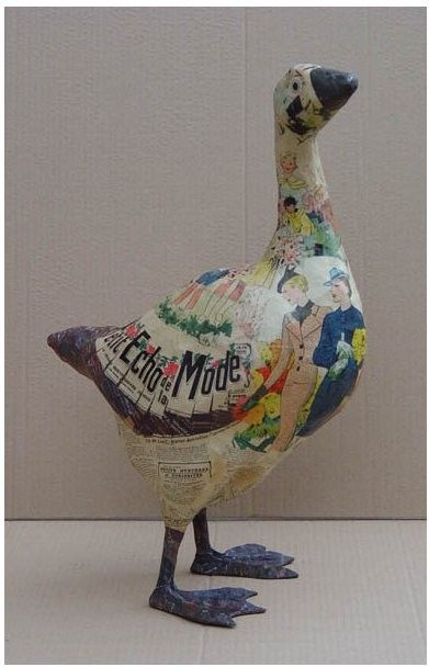 Paper Mache Goose and other- do this on the ceramic cow pitcher I got at a flea market