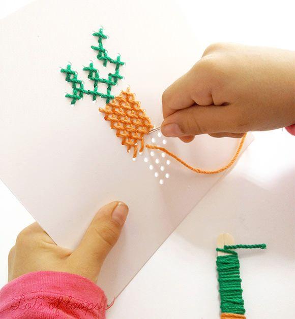 Idée à réaliser: percer des trous dans une planche de carton pour initier ses…