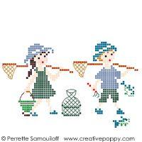 Perrette Samouiloff - A la pêche - version couleur (petit modèle) (point de croix)