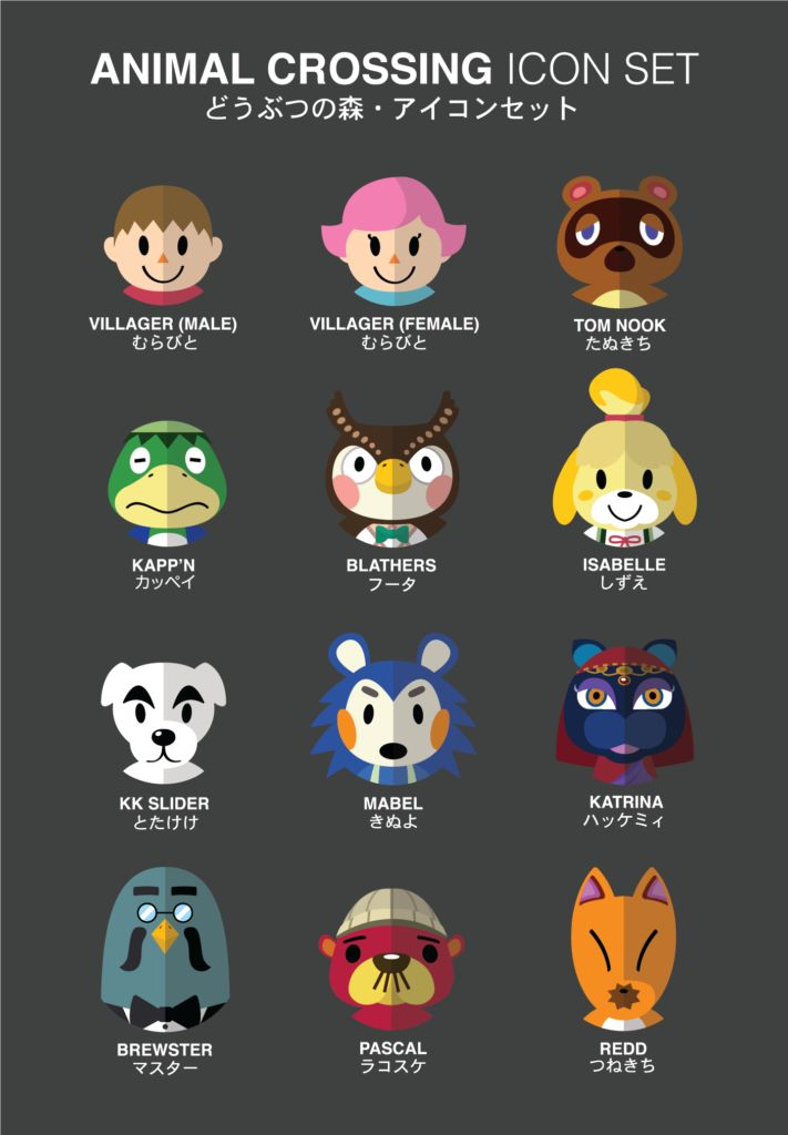 animal crossing icons by student
