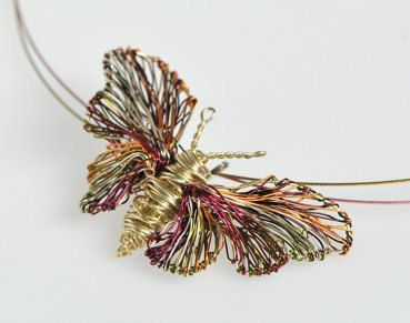 Butterfly necklace, delicate gold necklace, wire wrapped pendant, nature, hippie, insect jewelry, Christmas bridesmaid romantic gift for her  Handmade, gold butterfly, wire wrapped pendant necklace made of colored copper wire and silver. The height of the delicate insect jewelry is 2cm (0,79in) and the width (body with wings) of the Christmas, bridesmaid romantic gift for her is 3cm (1,18in). The nature jewelry, hanging from steel wire and the clip is handmade silver. Very easy and safe to…