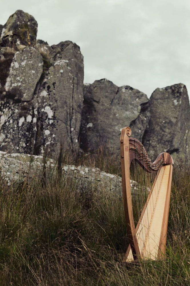 Eos harp by Teifi Harps on a Welsh moor