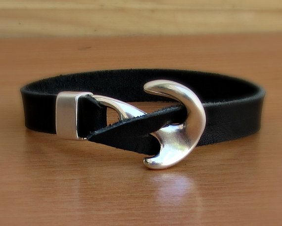 Anchor Bracelet Mens Leather bracelet Cuff Nautical by GUSFREE