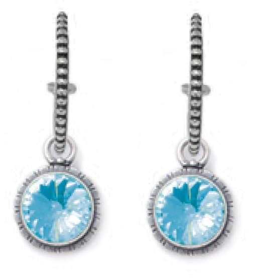 Classic hoop earrings with burnished silver beading (E2237), pictured with our  rivoli-cut Light Turquoise Swarovski Crystal earring charms (E2403)