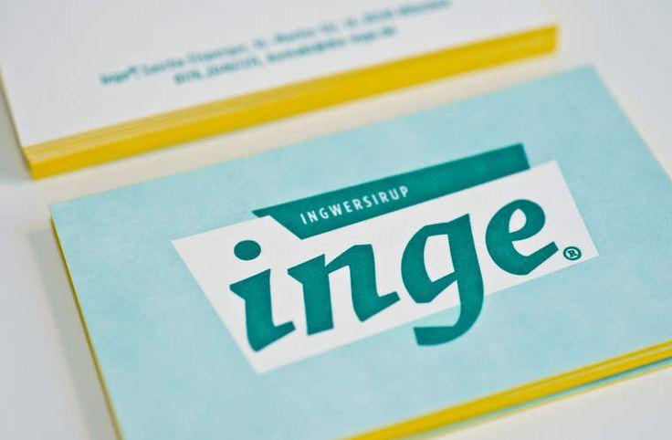 INGE INGWERSIRUP / Naming, Brand Design und Packaging / #Letterpress #Visitenkarte #Farbschnitt / by Zeichen & Wunder, München