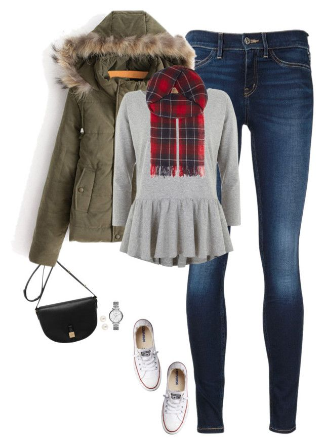 """""""Faux fur hooded coat, gray peplum & plaid scarf"""" by steffiestaffie ❤ liked on Polyvore featuring Mulberry, MiH Jeans, Converse, Mint Velvet, Henri Bendel, FOSSIL and The Kooples"""