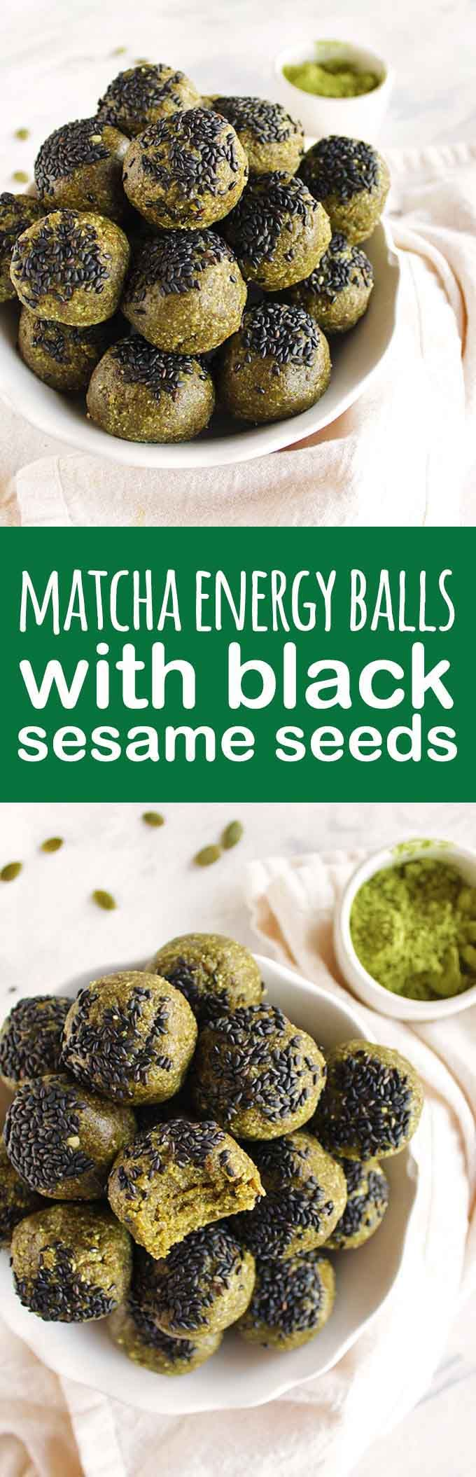 Matcha energy balls with black sesame seeds are nutrient dense: rich in antioxidants, healthy fats, and fiber to keep you going. They make the perfect snack any time of day! (gluten Free/vegan/vegetarian) | robustrecipes.com