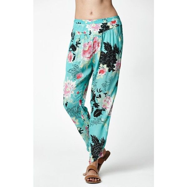 Billabong Meet Me Around Floral Print Beach Pants ($45) ❤ liked on Polyvore featuring pants, pleated pants, floral pants, lightweight pants, tapered pants and colorful pants