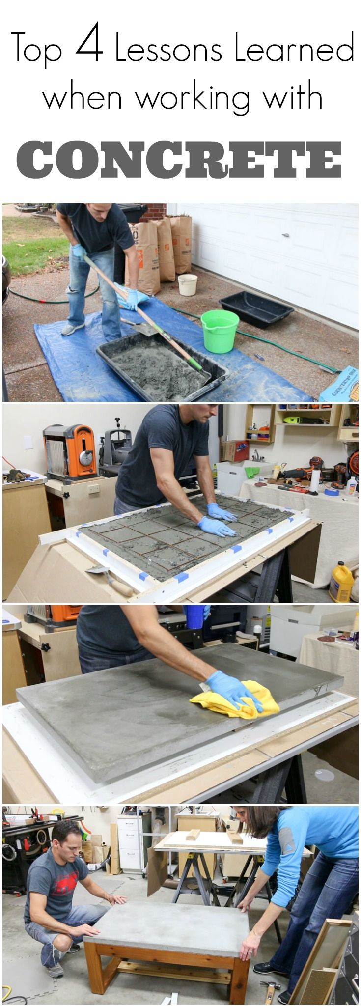 See the top 4 lessons I learned when working with concrete.  I made a concrete table top and learned what NOT to do along the way.  Watch this video to see the concrete top table I made and the things(Counter Top Ideas)