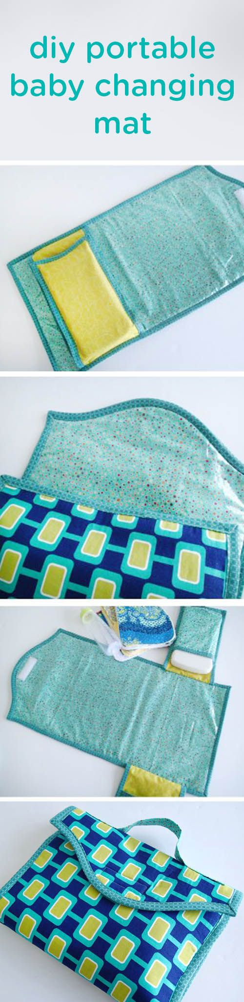 Whether it's for vacation or a day out and about running errands, This easy sewing project for a DIY portable baby changing mat is wonderful to have on hand when traveling with your baby. This homemade unfolding carrying case makes changing diapers away from home easy—the perfect thing to make this weekend for yourself or as a baby shower gift idea for an expecting friend.