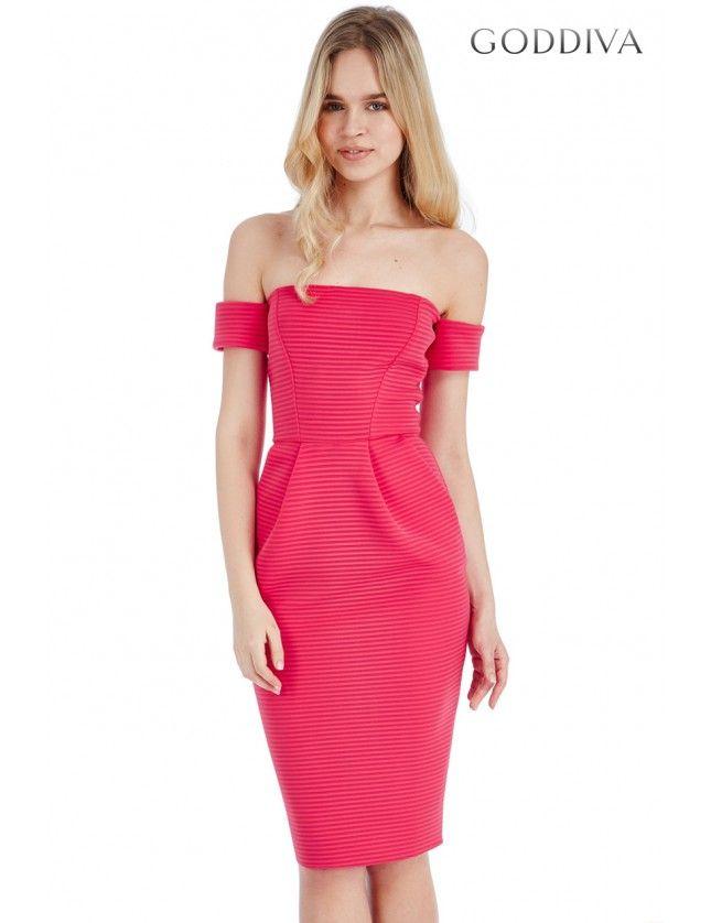 Bardot Structured Midi Dress - Cerise - Front - DR759