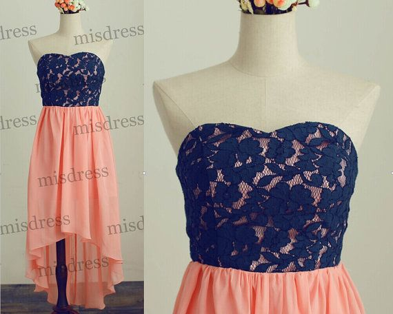 Navy Blue Lace Coral Chiffon Bridesmaid Dress/Prom Dress Strapless Sweetheart Hi Low Asymmetrical Dress for Wedding on Etsy, $109.00