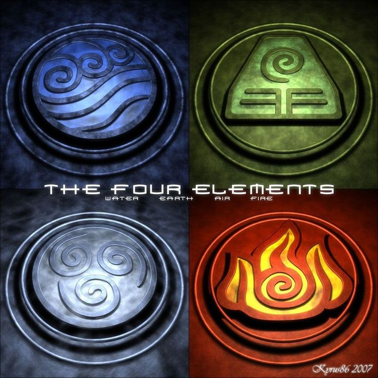 symbols for the elements earth air water fire | The Four Elements by ~Kyrus86 on deviantART
