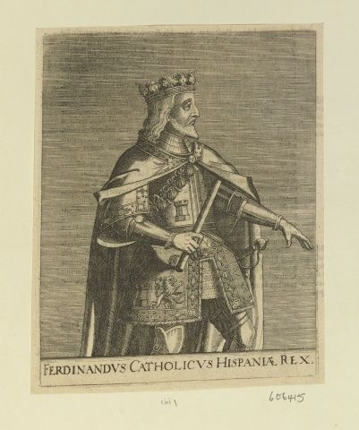 King Ferdinand V of Aragon (1452-1516) Short 3/4 length, profile R, bearded, crowned, in armour and mantle, LH extended, baton in RH, from a Latin book of annals. In the Royal Collection Trust