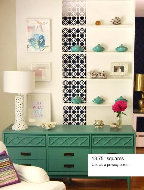 DIY  overlays add style to a painted dresser  Nice touch adding the  decorative screen insert on the wall with the shelves too. 164 best Overlays   Fretwork images on Pinterest   Furniture