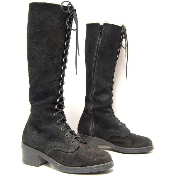 size 7.5 8 PLATFORM black suede leather 80s COMBAT lace zip up knee... ($85) ❤ liked on Polyvore featuring shoes, boots, knee high combat boots, black lace up boots, black lace-up boots, suede knee-high boots and tall black boots