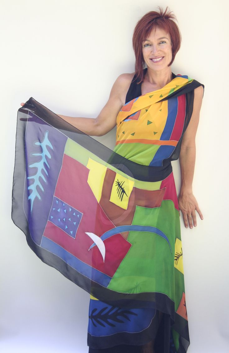 Decupage - Hand painted silk cape by Natasha Foucault, represented by Human Arts Gallery in Ojai, CA.