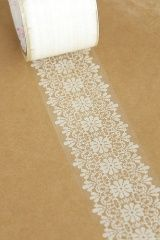 Transparent lace tape (to decorate glass jars w/ votives). Genius!