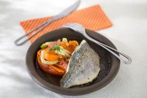 Daurade grillée, tagliatelles de carottes l Atelier Poisson
