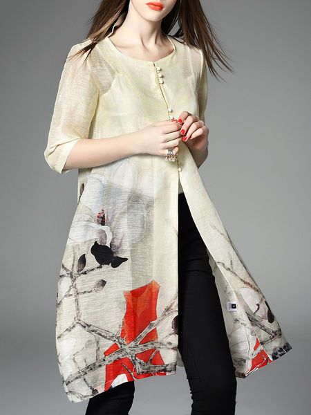Apricot Floral Crew Neck Half sleeve H-line Casual Printed Silk Linen Tunic