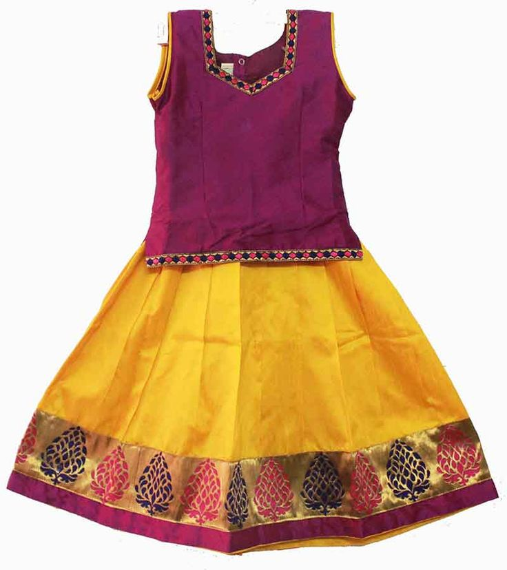 Maroon and yellow lehenga / pavadai / pavada size : 4- 5 Years Price : Rs 799 Free shipping all over India whatsapp : +91-9629187349 http://www.princenprincess.in/index.php/home/product/168/Purple%20and%20yellow%20fancy%20pavadai