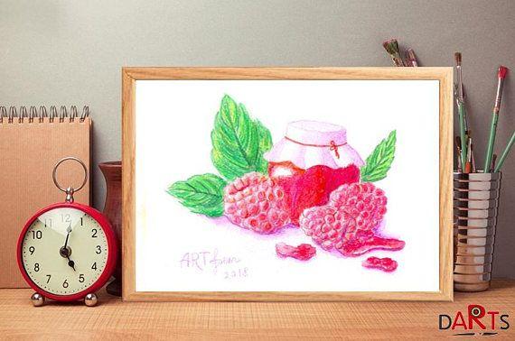 Food print Raspberries Art Kitchen Watercolor ornament Raspberries Prints wall art Raspberries digital Botanica art print Kitchen Watercolor