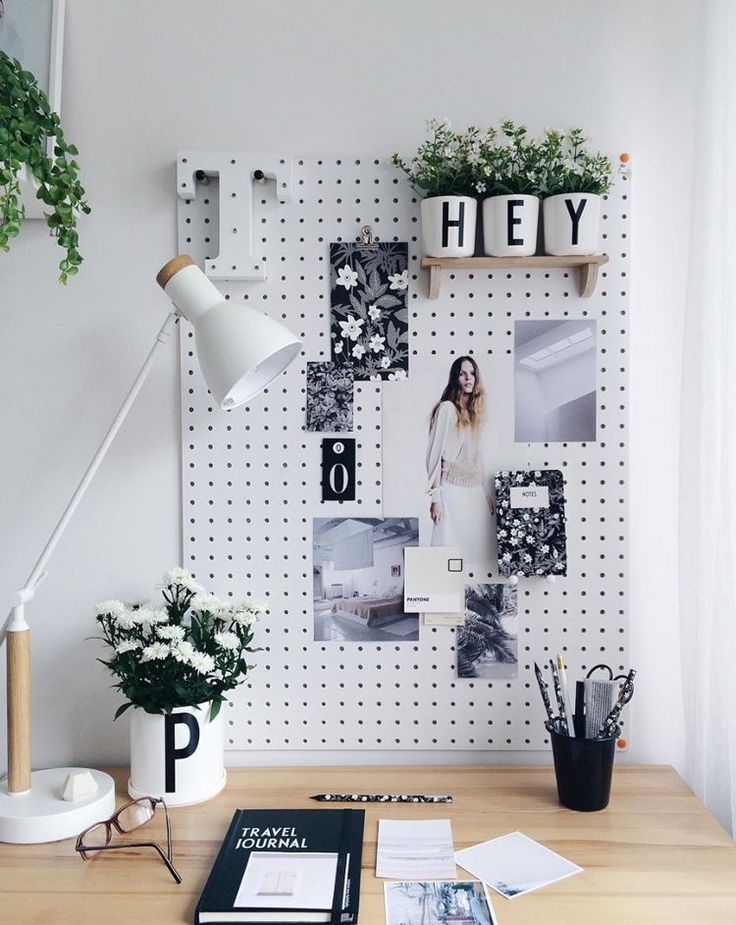 home office | peg board | task lamp | white room | house plants | inspiration board | interior design | interior decor