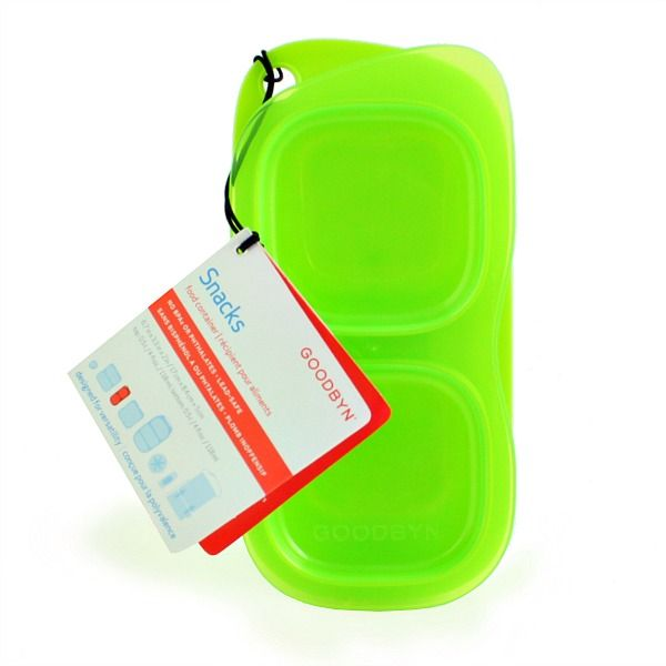 Goodbyn Snack Container- Green. Goodbyn Snacks is a BPA-Free, easy-to-carry, reusable snack and small food container designed with two compartments to keep snacks separated while you're on-the-go. Bid goodbye to plastic bags with Goodbyn!