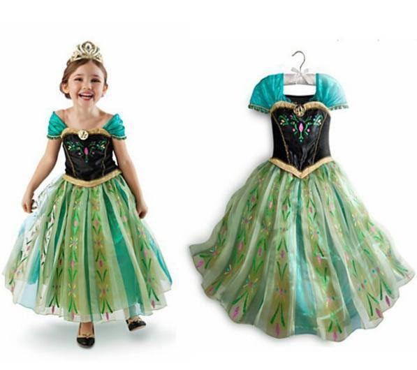 Disfraz niña Anna. Frozen: El Reino del Hielo, en tonos verdes Esplendido disfraz para niña de la Princesa Anna, uno de los personajes de la película de Disney Frozen: el Reino del Hielo.