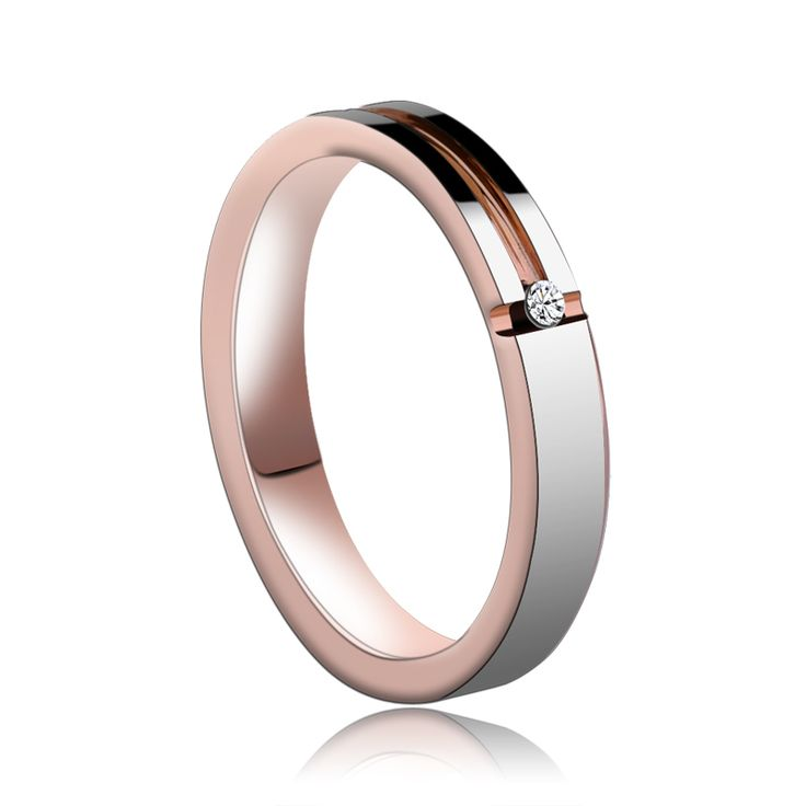 ==> [Free Shipping] Buy Best New Arrival Romantic 4mm Width Rose Gold Tungsten Rings CZ Stone Inlay For Lady/Girl Wedding Ring Free Shipping Size Online with LOWEST Price | 32357925677