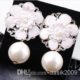 Wholesale Pearl Earrings - Buy Pearl Flower Cortex Big Earrings Earrings Fashion Woman, $13.01 | DHgate