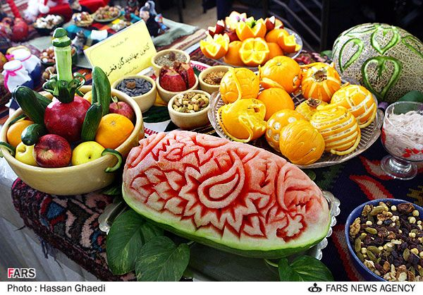 21st December, the longest night of the year.  It is the eve of the birth of Mithra, the Sun God, representing the defeat of the powers of darkness. It has been celebrated in many cultures across the world and for Iranians it symbolises light, goodness and strength. Shab-e Yalda (the night of Yalda) is a time of joy, referring to the rebirth of the sun.