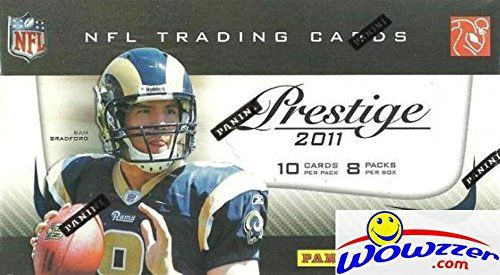 2011 Panini Prestige  NFL Football Factory Sealed Retail Box with 80 Cards ! Look For Rookies & Autographs of Cam Newton, Andy Dalton, AJ Green and all the Top 2011 NFL Draft Picks ! Wowzzer! Check out this Super Hot Factory Sealed Product of The AWESOME 2011 NFL ROOKIE YEAR product of CAM NEWTON, ANDY DALTON, AJ GREEN and Many More! We are Proud to offer this Original Factory Sealed 2011 Panini Prestige NFL Football Retail Box. This Factory Sealed Box includes 8 Packs https