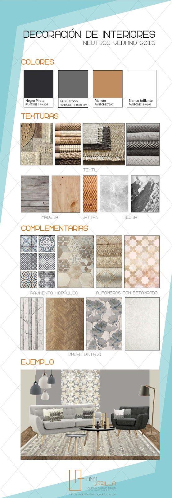 #Infografías #Cómo #decorar interiores con colores y texturas neutras, por Ana Utrilla Info@anautrilla.com