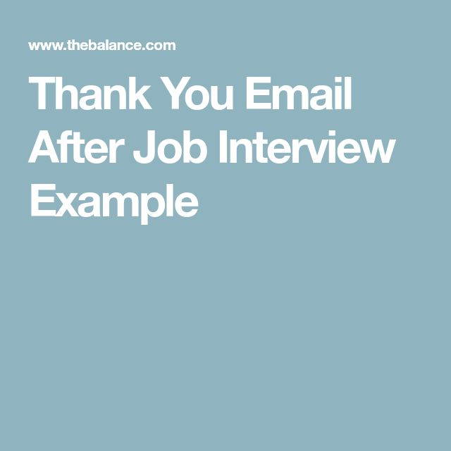 Thank You Email After Job Interview Example