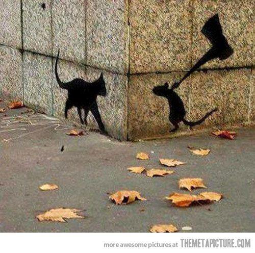Graffiti.Mice, Street Artists, Revenge, Halloween Decor, Urban Art, Funny Graffiti Mouse Cat Ax, Rats, Shadows Art, Streetart
