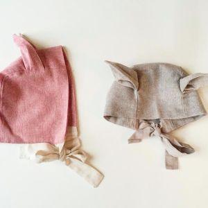 lue med ører rosa og beige