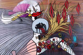 """EROS"" Oil on Canvas Framed 24"" x 36"" 2017 #painting #oilpainting #eros #greekgod #sexualdesire #sexualattraction #wingedgod #arrow  #mischiefmaker #symbolism #originalart #mythological #art #artcollecting #artbuyers #artlovers #artcollectors #emergingartist"