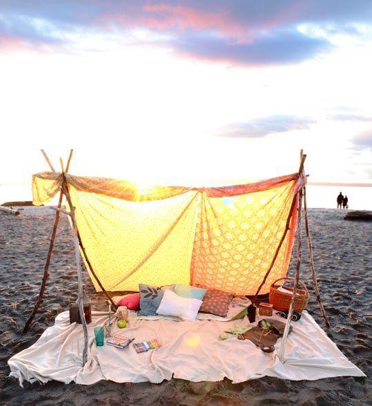 How to make a bohemian beach tent. That would make a cute prop for a beach photo