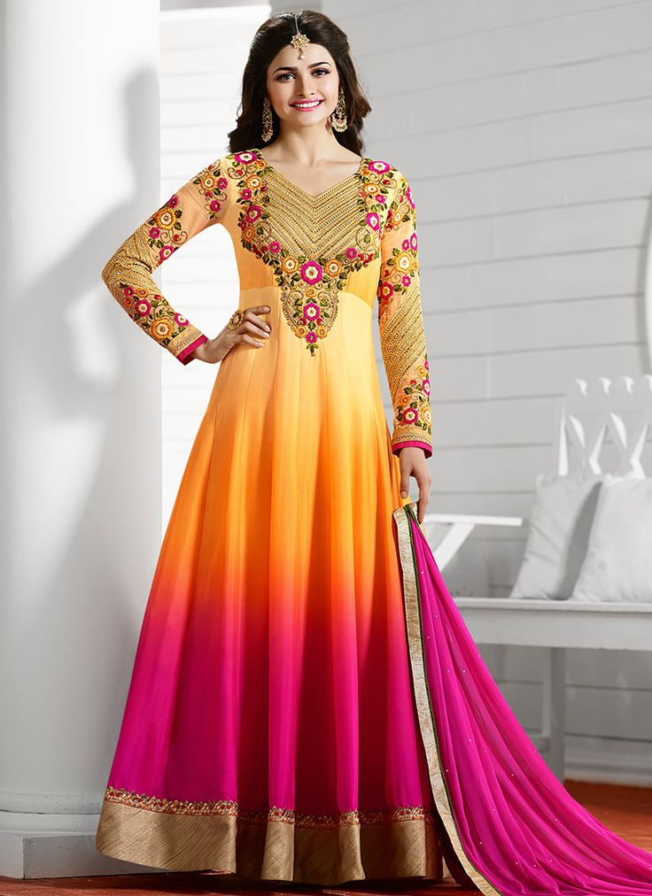 Buy Prachi Desai Yellow N Pink Anarkali Suit online from the wide collection of Salwar Kameez.  This Yellow,  Pink  colored Salwar Kameez in Art Dupion Silk  fabric goes well with any occasion. Shop online Designer Salwar Kameez from cbazaar at the lowest price.