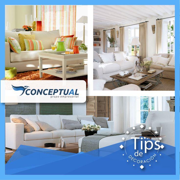 ¿Tienes un sofá blanco y no sabes cómo decorarlo? Hoy te presentamos estas 3 diferentes opciones para que te inspires y llenes tus espacios de vida, de personalidad y de colores.