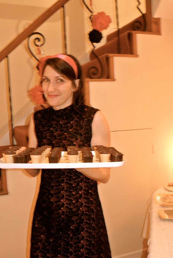 Sixties party German style: chocolate cups filled with Advocaat.