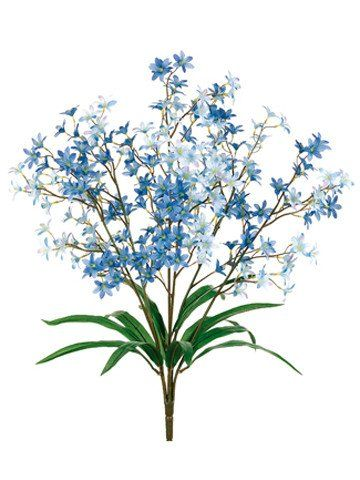 "Faux Tweedia Flower Bush in Two Tone Blue<br>5.5"" Wide x 24"" Tall"
